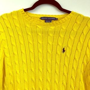 Polo Ralph Lauren Yellow Cable Knit Sweater Large